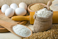 Cereal and flour. Preparations for making homemade bread Royalty Free Stock Images