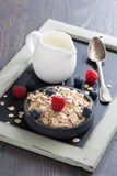 Cereal, fresh berries and jug of milk. Vertical Stock Photos