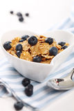 Cereal with fresh blueberries Stock Photos