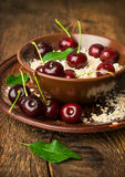 Cereal with fresh cherries Royalty Free Stock Photo