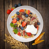 Cereal with fresh fruits Stock Images