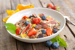 Cereal with fresh fruits Royalty Free Stock Images