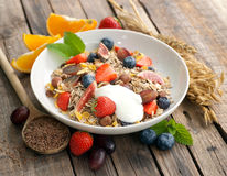 Cereal with fresh fruits Stock Image