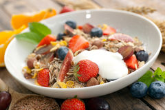 Cereal with fresh fruits Stock Photos