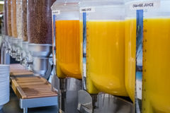 Cereal and fresh juice dispensers Stock Photo