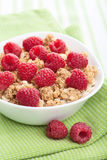 Cereal with fresh raspberry Royalty Free Stock Images