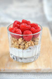Cereal with fresh raspberry. Crunchy cereal with fresh raspberry Stock Images