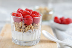 Cereal with fresh raspberry. Crunchy cereal with fresh raspberry Royalty Free Stock Photos