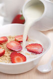 Cereal with fresh strawberry Stock Photo