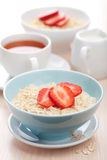 Cereal with fresh strawberry Stock Photos