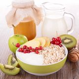 Cereal with fruit and milk Stock Images