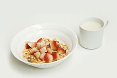 Cereal with fruit and soy milk Royalty Free Stock Photos