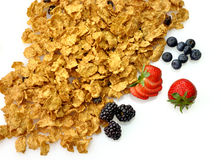 Cereal with fruits. Bran and raisin cereal with fruits and berries Royalty Free Stock Photo