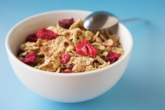 Cereal & fruits on a blue Royalty Free Stock Photography
