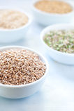 Cereal grains , barley , soybean , rice , millet , spelled Stock Photos