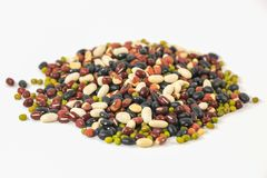 Cereal grains,mixed beans isolated on white background Stock Photos