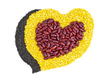 Cereal Grains in to a heart shaped, red beans, green beans, blac Royalty Free Stock Photo