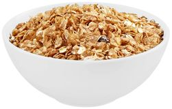 Bowl of cereal. Cereal granola bowl breakfast food oat isolated royalty free stock photos