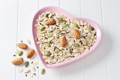 Free Cereal Granola Muesli Heart Food Stock Images - 44348604