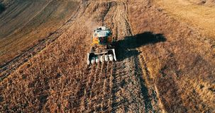 Cereal harvesting details. Aerial view of autumn harvest stock footage