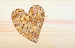 Cereal in heart shape Stock Photo