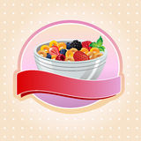Cereal label. Label with full bowl of cereal with ribbon Royalty Free Stock Images