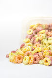 Cereal loops closeup on white background Stock Photos