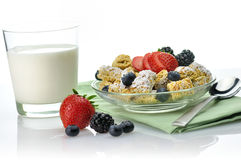 Cereal and milk. Shredded Wheat Cereal with fruits and berries close up Stock Photos