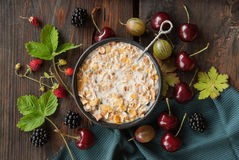 Cereal with milk and berries Stock Photo