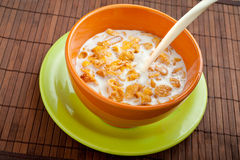 Cereal and milk. Bowl with cereal and milk Royalty Free Stock Images