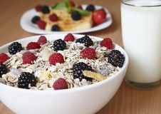 Cereal with milk for breakfast Royalty Free Stock Photo