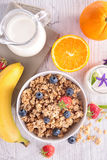 Cereal,milk and fruits Royalty Free Stock Photo