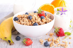Cereal,milk and fruits Stock Images