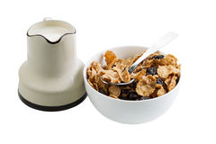 Cereal and Milk on White Stock Photography