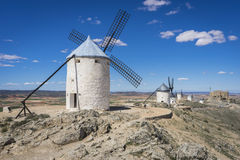 Cereal mills mythical Castile in Spain, Don Quixote, Castilian l Stock Photos