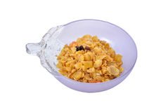 Cereal mix with dried papaya, raisin, apple, peach in bowl Stock Photos