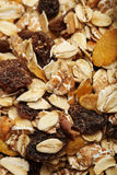 The cereal mix with prunes and raisins for background Stock Image