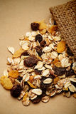 The cereal mix with prunes and raisins in sack Royalty Free Stock Photography