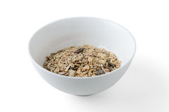 Cereal mix. With prunes and raisins in white dish stock images