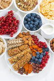 Cereal muesli bars, fresh and dried fruit for breakfast Stock Image