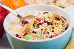 Cereal muesli with dried fruit Stock Photo