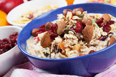 Cereal muesli with dried fruit and nuts Stock Images