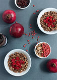 Cereal muesli with fruit and nuts. Muesli for breakfast with fruits and nuts Stock Image