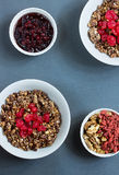 Cereal muesli with fruit and nuts. Muesli for breakfast with fruits and nuts Royalty Free Stock Image