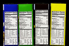 Cereal Nutritional facts label Stock Photo