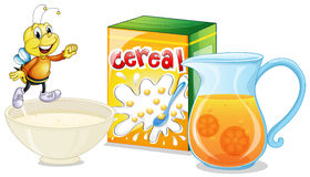 Cereal and orange juice for breakfast Stock Photo