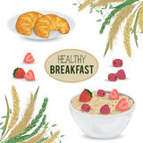 Cereal porridge in bowl and croissants on plate with raspberry, strawberry and cereals. Barley, wheat, rye and oat. Stock Photo