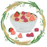 Cereal porridge in bowl with raspberry, strawberry and wreath with cereals. Barley, wheat, rye and oat. Healthy breakfast. Royalty Free Stock Photos