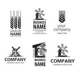 Logo bread. Cereal production  logo in black and white Stock Photos