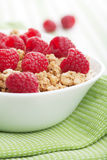Cereal with raspberries Royalty Free Stock Image